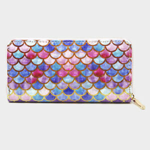 ~NEW~ Holographic Shimmer Multi Color Mermaid Scale Zippered Clutch Purse Wallet