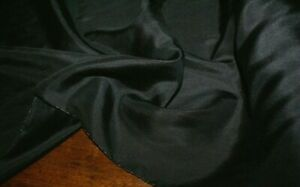 1m x 1.12m 'BLACK' Silk / Cotton Voile Fabric Light Weight, Sewing Material