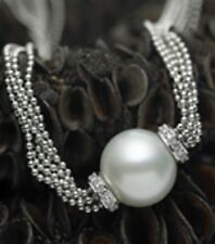 18 KT White Gold Paspaley South Sea Pearl Pave Diamond Pendant Necklace NEW