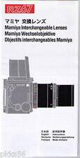 Mamiya Rz 67 Lens Instruction Manual (Original Print Japan/not copies)