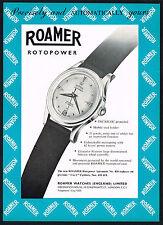 1950s Original Vintage 1957 Roamer Rotopower 420 Swiss Watch Art Print Ad
