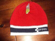 * CROCS Crocband Beanie Skull Knit Hat Youth Boys Red Navy Blue White One Size