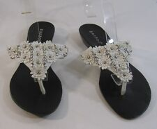 Summer NEW  white flowers/beads WOMEN SHOES ROMAN GLADIATOR   SANDALS  SIZE  8 p