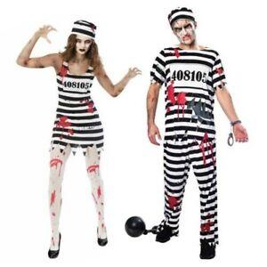 Couples Halloween Zombie Convict Déguisement Prisonnier Évasion Lui Elle Prison