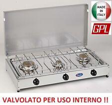 FORNELLO GAS GPL 3 FUOCHI PIANO INOX TELAIO GRIGIO - VALVOLATO PER USO INTERNO