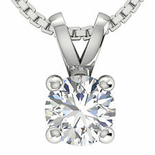 Solitaire Pendant Necklace 0.55 Ct SI1 G Natural Diamond 14K White Yellow Gold
