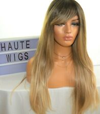 30 INCH LONG OMBRE BROWN BLONDE WOMENS Wig HAIR BANGS FRINGE STRAIGHT HUMAN HAIR
