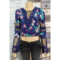 Solaris Style Blue Boho Floral Tie Front Mesh Bell Sleeve Crop Top