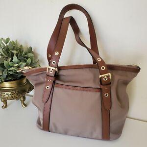 M&S Collection Canvas and Leather Trim Medium Shoulder Bag Shopper Tote Handbag