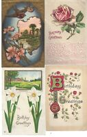 Vtg Assorted Birthday Postcards Circa 1800's-1900's Lot of 5 *