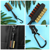 Golf Accessories Club Brush Nylon Brass Groove Cleaner Dual-Bristle & Carabiner