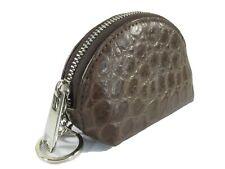 PELGIO Genuine Crocodile Skin Leather Zip Coins Purse Soft Wallet Key Ring Black
