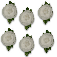 Artificial Flowers 6 x  Extra Large Polyester White Rose with Leaf - 14 to 16cm