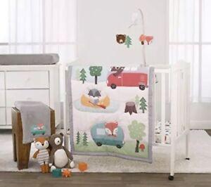 NoJo 3 Piece Mini Crib Bedding Set, Retro Happy Camper, Green/Aqua/Orange/Grey Y