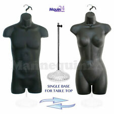 2 Black Mannequin Set + 1 Stand + 2 Hangers - Male & Female Torso Dress Form
