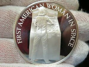 First American Woman in Space Silver Round Challenger June 18 1983 Franklin Mint