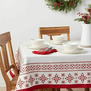 Threshold Holiday Red 100% Cotton Fair Isle Oblong Tablecloth 60 x 84