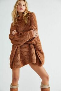 FREE PEOPLE OVERSIZED TOBACCO BROWN OASIS JUMPER SWEATER (SIZE XS) RRP US$ 168