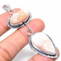"Orange Scolecite Gemstone Ethnic Handmade Gift Jewelry Pendant 3.23"" VK-6743"