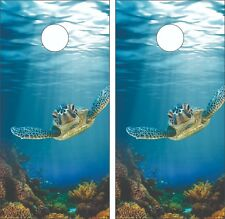Sea Turtle Ocean Reef Cornhole Board Skin Wrap Decal SET - Laminated