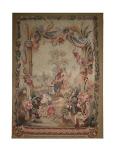 French Aubusson Rug Tapestry, Handwoven Wool Carpet Wall Décor- 91x122cm