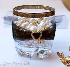 10 pcs HEART Gold Wedding Diamante Rhinestone Invite Buckle