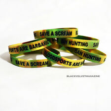 Save A Scream BAN HUNTING: BLOODSPORTS AR BARBARIC Animal Rights Wristband Vegan