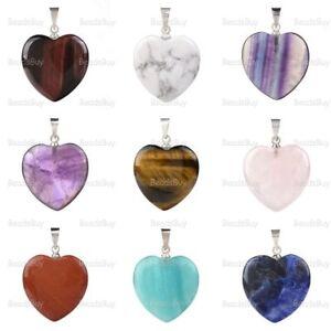"20mm Rock crystal Heart shaped pendant 0.8"""