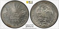 PCGS Mexico 1896 8 Reales Guanajuato Go RS Mint Silver Coin Nice Lustre AU55