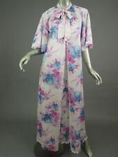 Vintage 70s Pink Blue Floral 2 Piece Peignoir Robe Gown Set Womens S/M