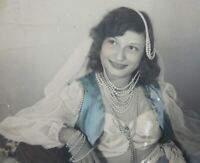 Vintage Exotic Girl Belly Dancer Pearls Photo Hand Tinted Gypsy 1920-40's
