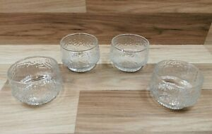4 x Vintage Ravenhead Siesta Glass Sundae Dishes Bowls Ice Bark Texture 26cl