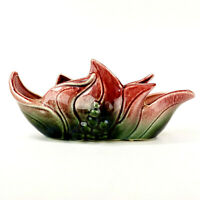 Vintage Hull Pottery Leaf Planter With Embossed Berries