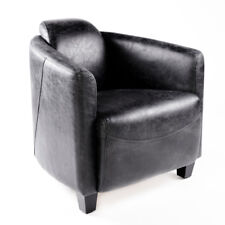 VINTAGE Sillón de cuero negro piel auténtica Retro Diseño Lounge Asiento Club