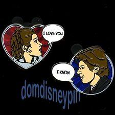 Disney Pin Set *Star Wars* Princess Leia & Han Solo I Love You/I Know (2 Pins)!