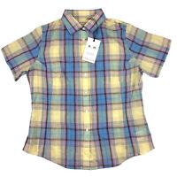 RM Williams Womens Maneroo Short Sleeve Shirt Linen Blend Pastel Plaid Check 10