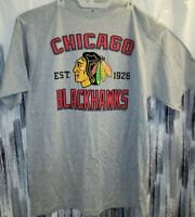 New Mens Majestic Chicago Blackhawks Big & Tall Primary Logo Gray T-Shirt XLT