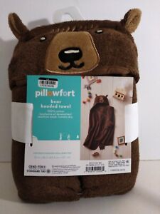 Hooded Bath Towel for Kids and Toddlers – by Pillowfort - Bear Brown Terrycloth