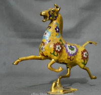 Chinese Folk Feng Shui Cloisonne Bronze Horse Stepping on Flying Swallow Statue