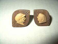Vintage Hand Carved Wood Pioneer Couple Folk Art Cufflinks Andre Bourgault Syle
