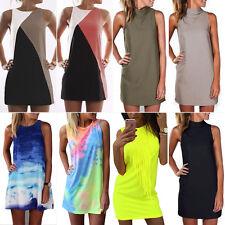 Women's Plus Size Sleeveless Tunic Tops Dress Summer Beach Party Casual Sundress