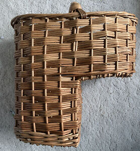 Wicker Woven Rattan Stair Basket Storage With Handle for Home Decor