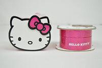 HELLO KITTY NIB WOMENS HKAQ2729 SILVER TONE SUNRAY DIAL CRYSTAL BLACK BAND WATCH