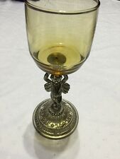 VTG BRASS NUDE ANGEL CHERUB AMBER GLASS CANDLE TRINKET HOLDER
