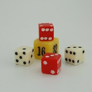 Travel Backgammon Dice Doubling Cube Set Red White Ivory Replacement Game Piece