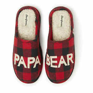 Dearfoams Men's Papa Bear Red Buffalo Check Clog Slipper XL (13-14 US)