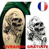 Tattoo Homme Pistolet imperméables épaule Crane bras corps tatouages Mode Faux