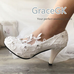 Lace Wedding Shoes Formal Bridal Bridemaid Flat High Low Kitten Heels