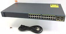 Cisco 2960 Series Catalyst 24 Port Managed Switch Ws-C2960-24Tc-L W/ Cord E1496