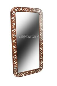 Indian Handmade Mother Of Pearl Inlay Floral Design Brown Color Mirror Frame